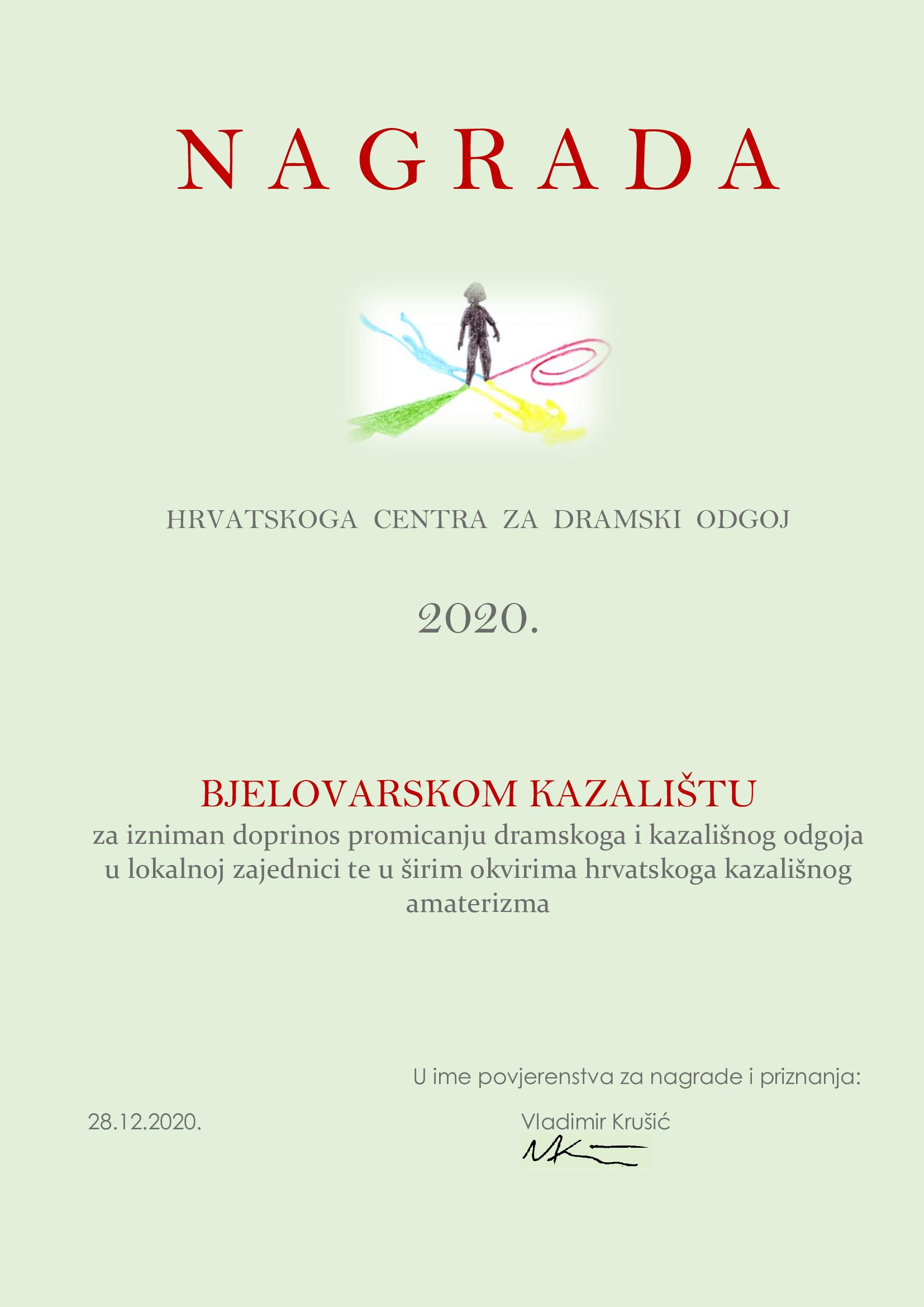 Read more about the article Povjerenstvo za nagrade i priznanja HCDO-a dodjeljuje Bjelovarskom kazalištu Nagradu za izniman doprinos promicanju dramskoga i kazališnog odgoja u lokalnoj zajednici te u širim okvirima hrvatskoga kazališnog amaterizma
